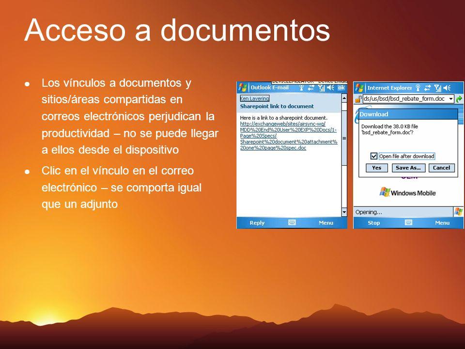 Acceso a documentos Los vínculos a documentos y sitios/áreas compartidas en correos electrónicos perjudican la productividad – no se puede llegar a ellos desde el dispositivo Clic en el vínculo en el correo electrónico – se comporta igual que un adjunto