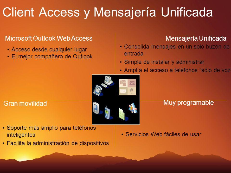 Evolución de Outlook Web Access Mejoras en el calendario Introducción a la Mensajería Unificada Cómo mejorar la movilidad de Exchange Server Agenda