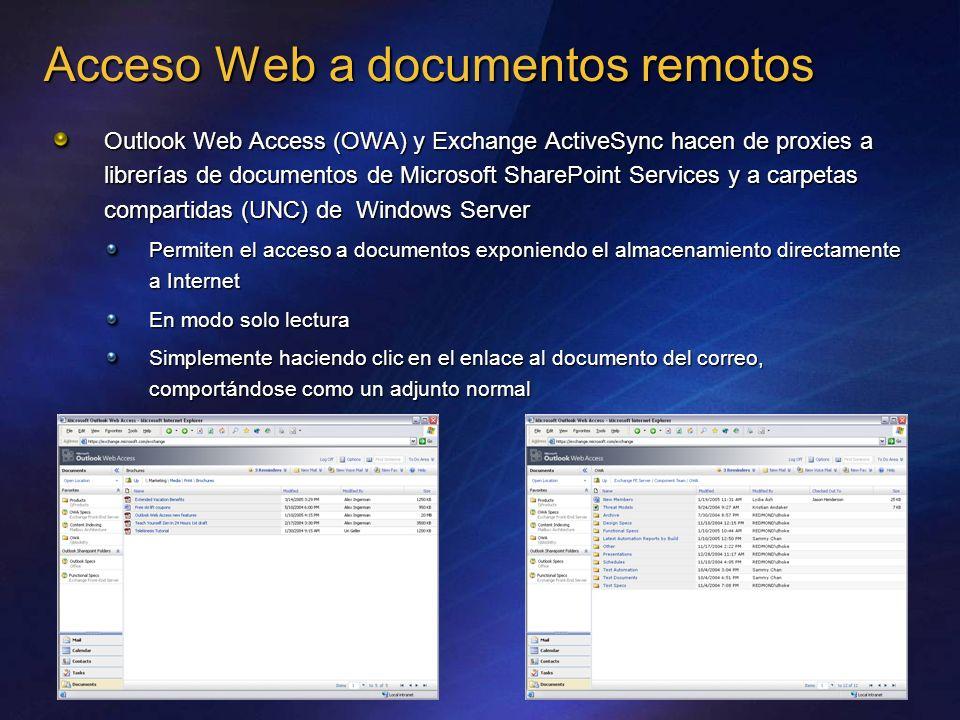 Acceso Web a documentos remotos Outlook Web Access (OWA) y Exchange ActiveSync hacen de proxies a librerías de documentos de Microsoft SharePoint Serv