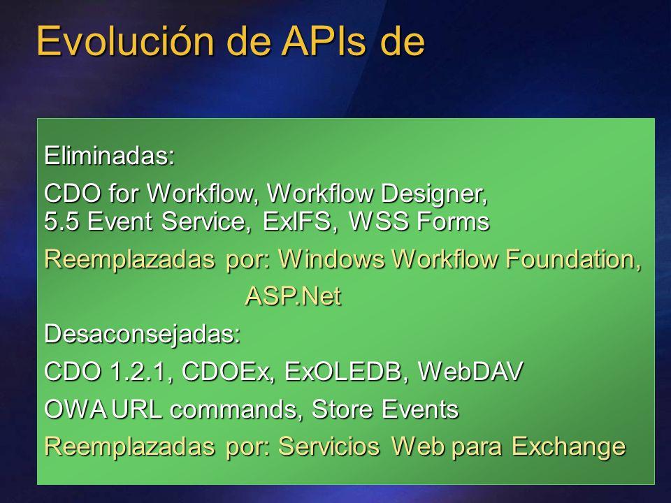 Evolución de APIs de Eliminadas: CDO for Workflow, Workflow Designer, 5.5 Event Service, ExIFS, WSS Forms Reemplazadas por: Windows Workflow Foundatio