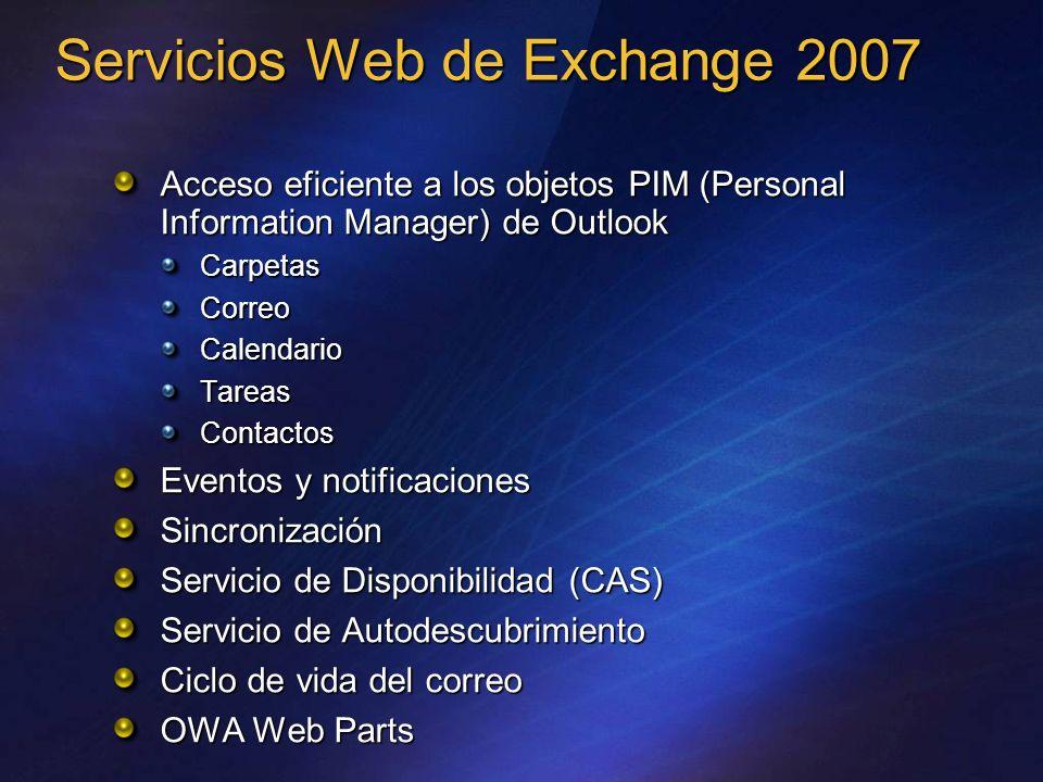 Servicios Web de Exchange 2007 Acceso eficiente a los objetos PIM (Personal Information Manager) de Outlook CarpetasCorreoCalendarioTareasContactos Ev