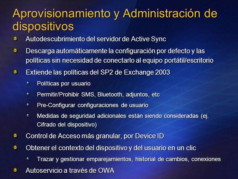 Aprovisionamiento y Administración de dispositivos Autodescubrimiento del servidor de Active Sync Descarga automáticamente la configuración por defect