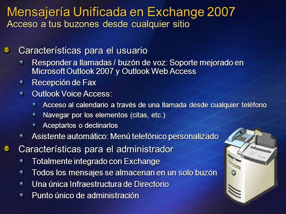 Mensajería Unificada en Exchange 2007 Acceso a tus buzones desde cualquier sitio Características para el usuario Responder a llamadas / buzón de voz: