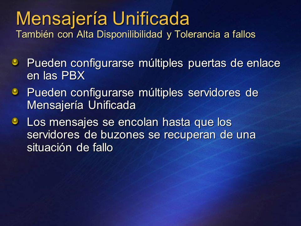 Mensajería Unificada También con Alta Disponilibilidad y Tolerancia a fallos Pueden configurarse múltiples puertas de enlace en las PBX Pueden configu