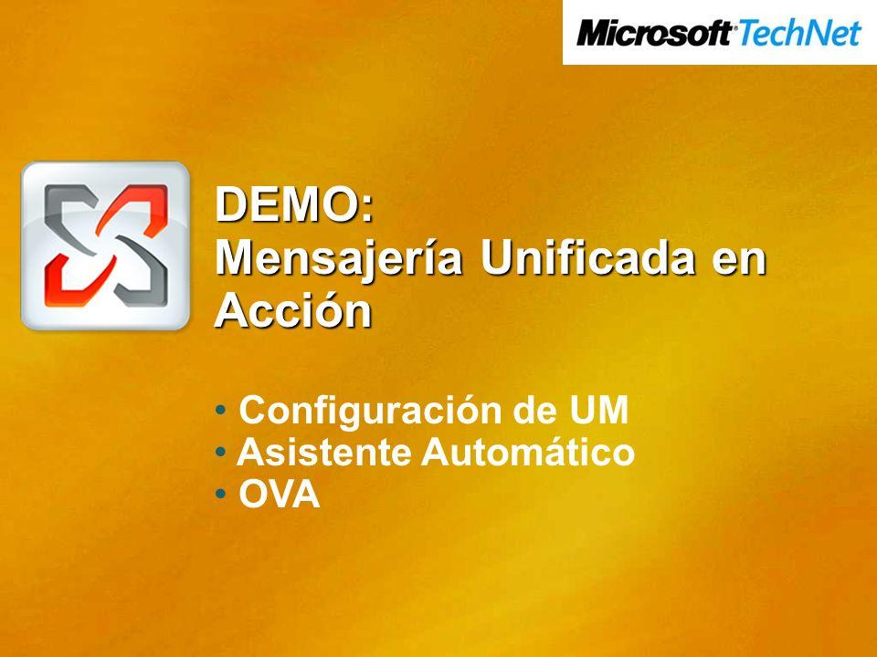 DEMO: Mensajería Unificada en Acción Configuración de UM Asistente Automático OVA