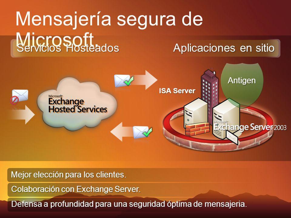 ISA Server Mensajería segura de Microsoft. Mejor elección para los clientes. Colaboración con Exchange Server. Defensa a profundidad para una segurida