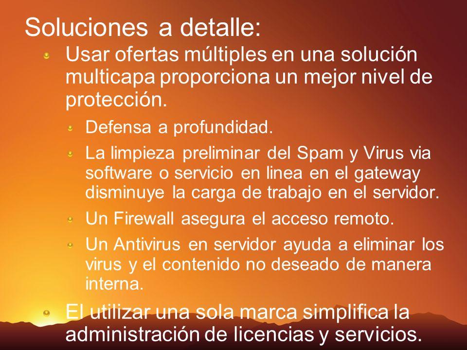 Soluciones a detalle: Usar ofertas múltiples en una solución multicapa proporciona un mejor nivel de protección. Defensa a profundidad. La limpieza pr
