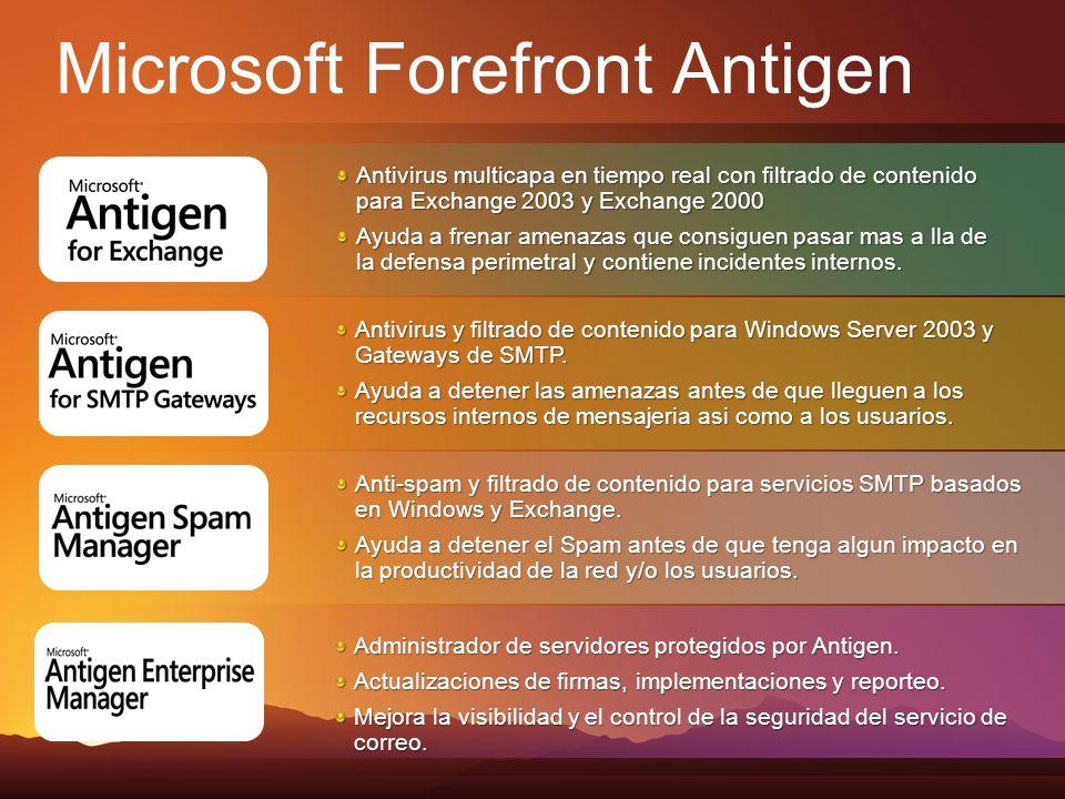 Antivirus multicapa en tiempo real con filtrado de contenido para Exchange 2003 y Exchange 2000 Ayuda a frenar amenazas que consiguen pasar mas a lla