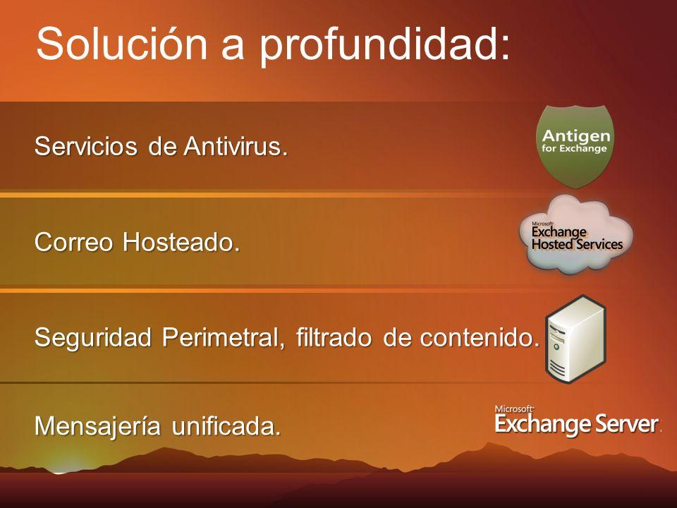 Servicios de Antivirus. Correo Hosteado. Seguridad Perimetral, filtrado de contenido. Solución a profundidad: Mensajería unificada.