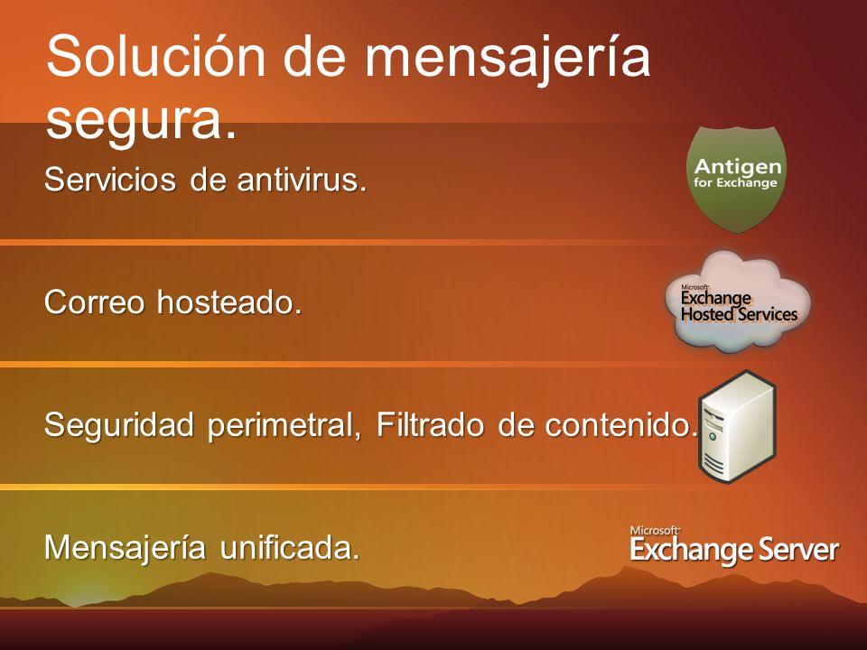 Mensajería unificada. Seguridad perimetral, Filtrado de contenido. Correo hosteado. Servicios de antivirus. Solución de mensajería segura.