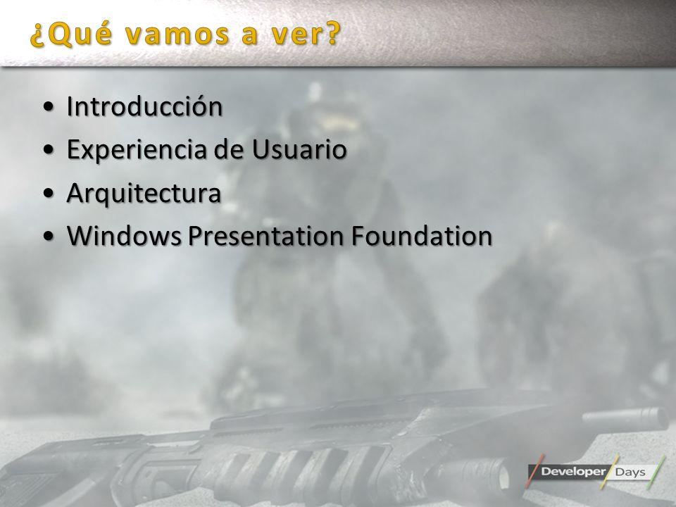 IntroducciónIntroducción Experiencia de UsuarioExperiencia de Usuario ArquitecturaArquitectura Windows Presentation FoundationWindows Presentation Fou
