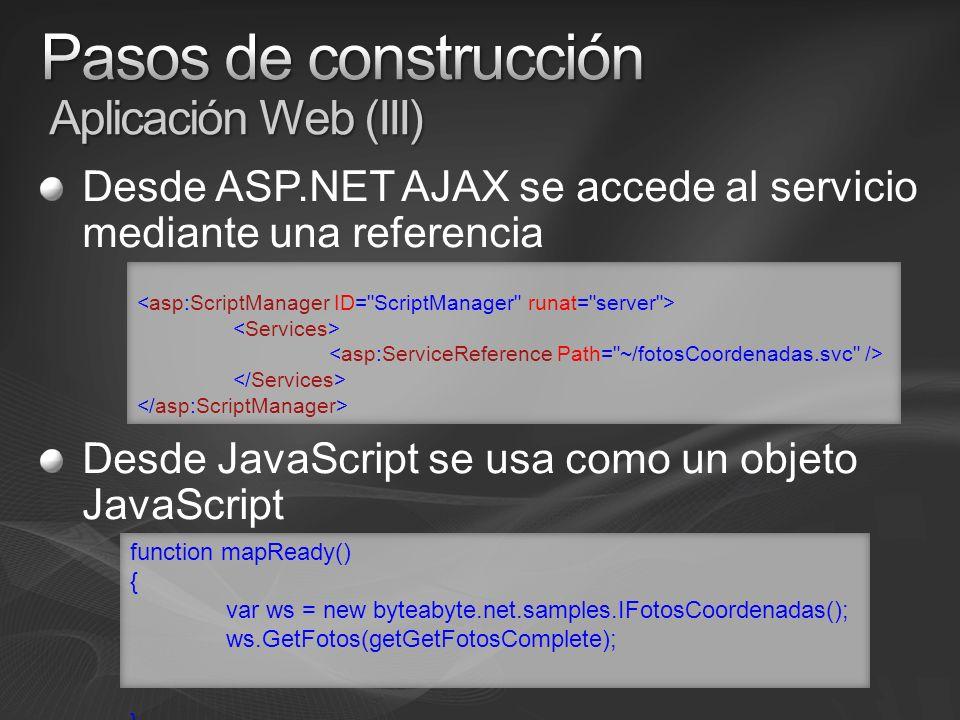 Desde ASP.NET AJAX se accede al servicio mediante una referencia Desde JavaScript se usa como un objeto JavaScript function mapReady() { var ws = new byteabyte.net.samples.IFotosCoordenadas(); ws.GetFotos(getGetFotosComplete); }
