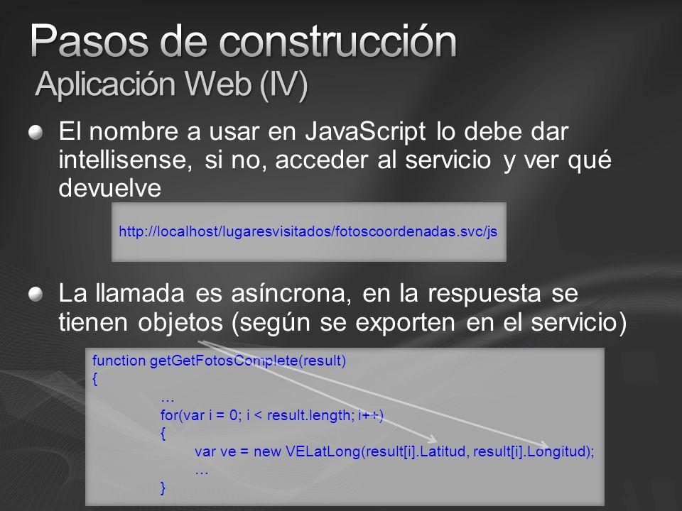 El nombre a usar en JavaScript lo debe dar intellisense, si no, acceder al servicio y ver qué devuelve La llamada es asíncrona, en la respuesta se tienen objetos (según se exporten en el servicio) http://localhost/lugaresvisitados/fotoscoordenadas.svc/js function getGetFotosComplete(result) { … for(var i = 0; i < result.length; i++) { var ve = new VELatLong(result[i].Latitud, result[i].Longitud); … }