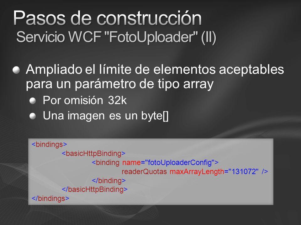Servicio alojado en IIS Guarda fotos y metadatos (posición) en App_Data No accesible con Server.MapPath El contexto habitual de IIS no está accesible en WCF por omisión string fotoLocalPath = String.Format( {0}\\{1}\\{2} , HostingEnvironment.ApplicationPhysicalPath, App_Data , fotoFileName);