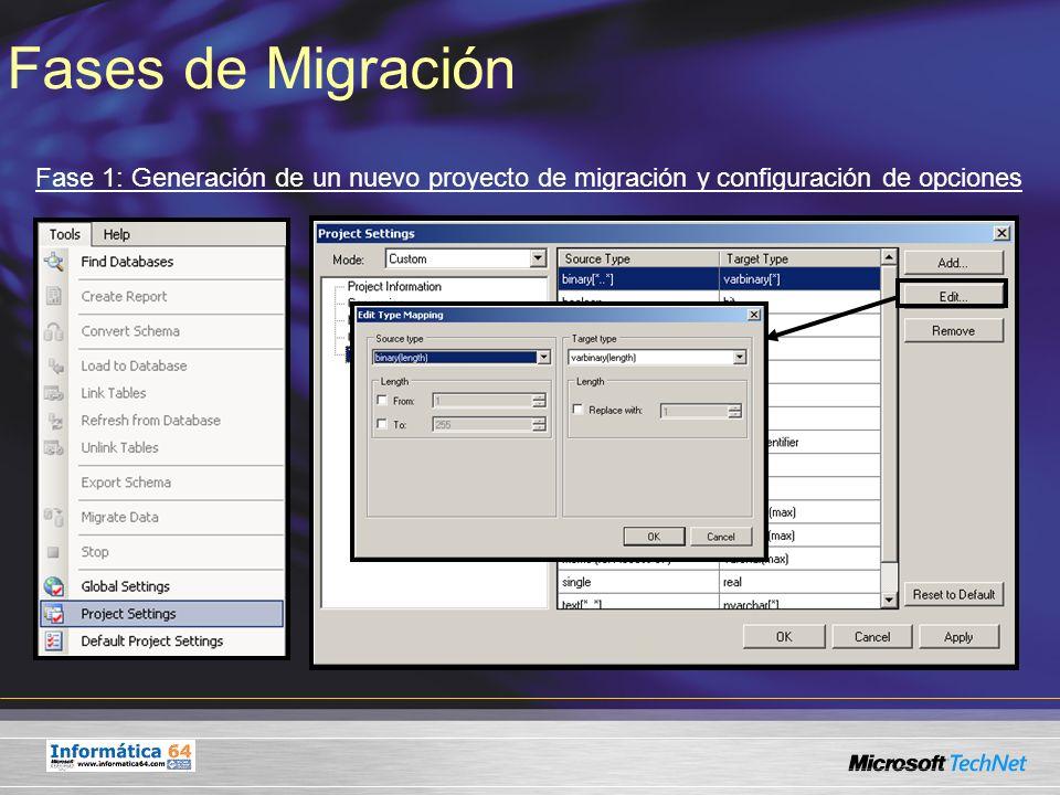 Fases de Migración Fase 1: Generación de un nuevo proyecto de migración y configuración de opciones