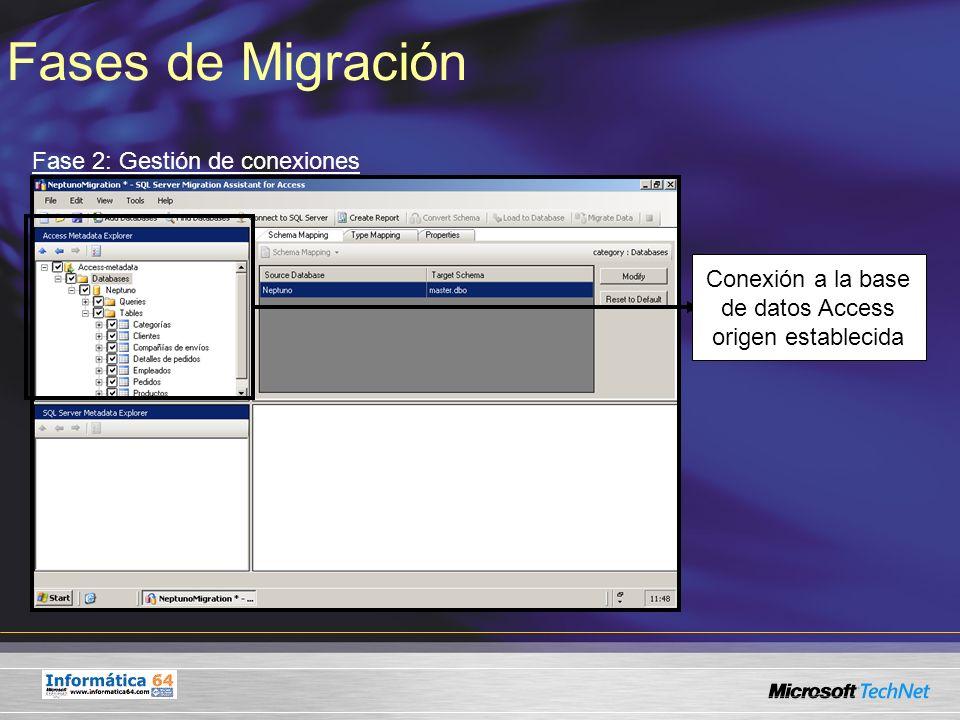 Fases de Migración Fase 2: Gestión de conexiones Conexión a la base de datos Access origen establecida
