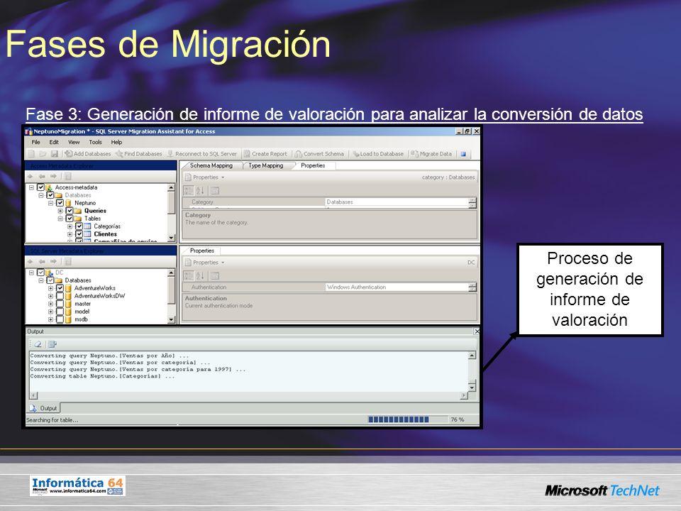 Fases de Migración Fase 3: Generación de informe de valoración para analizar la conversión de datos Proceso de generación de informe de valoración