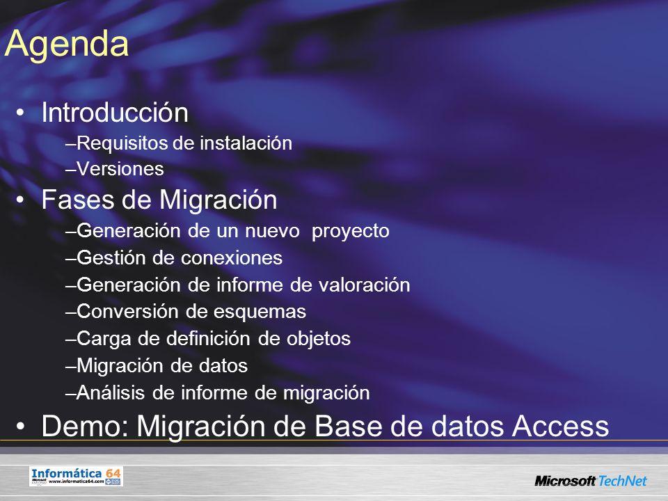 Introducción Asistente de Migración de Bases de datos Microsoft Office Access a Microsoft SQL Server 2005 –Requisitos de Instalación Windows XP SP2 o superior o Windows Server 2003 SP1 o superior.Net Framework 2.0 Microsoft Windows Installer 3.1 o superior J# 2.0 Redistributable package 1 Gb de RAM recomendado Migración a SQL Server 2005 (Express, Workgroup, Standard o Enterprise Edition) Versiones: -Para las releases comprendidas entre Microsoft Access 97 a Microsoft Access 2003 -Asistentes de Migración a SQL Server 2005 disponibles: SSMA for Access SSMA for Oracle SSMA for Informix SSQL for DB2 SSMA for Sybase
