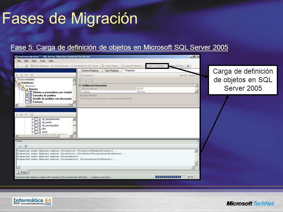 Fases de Migración Fase 5: Carga de definición de objetos en Microsoft SQL Server 2005 Carga de definición de objetos en SQL Server 2005