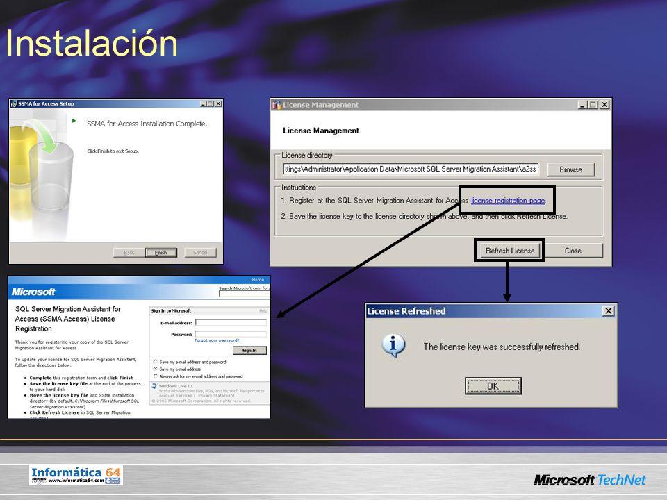 Fases de Migración 1º- Generación de un nuevo proyecto de migración y configuración de opciones 2º- Gestión de conexiones - Conexión a bases de datos Microsoft Access de origen - Conexión a instancia Microsoft SQL Server 2005 de destino 3º- Generación de informe de valoración para analizar la conversión de datos 4º- Conversión de esquemas de Microsoft Access a Microsoft SQL Server 2005 5º- Creación de definición de objetos en la base de datos SQL Server 2005 de destino 6º- Migración de datos 7º- Análisis de informe de migración de datos
