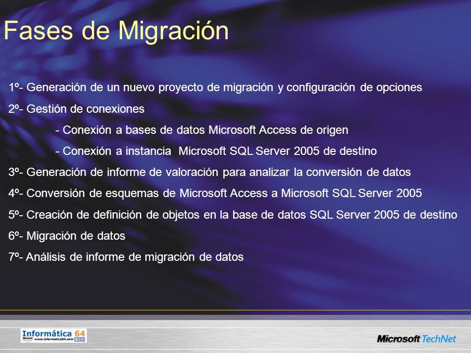 Fases de Migración 1º- Generación de un nuevo proyecto de migración y configuración de opciones 2º- Gestión de conexiones - Conexión a bases de datos
