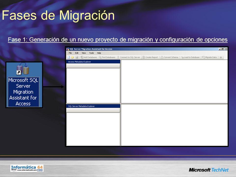 Fases de Migración Fase 4: Conversión de Esquemas de Microsoft Access a Microsoft SQL Server 2005 Conversión de esquemas realizada