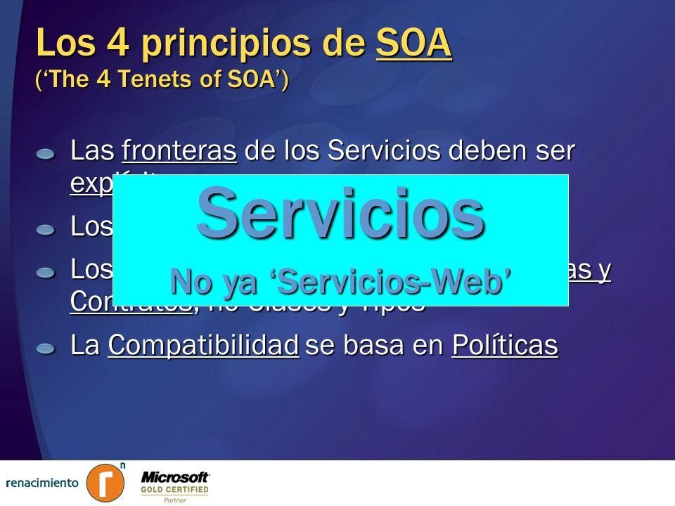 Los 4 principios de SOA (The 4 Tenets of SOA) Las fronteras de los Servicios deben ser explícitas Los Servicios deben ser Autónomos Los Servicios debe