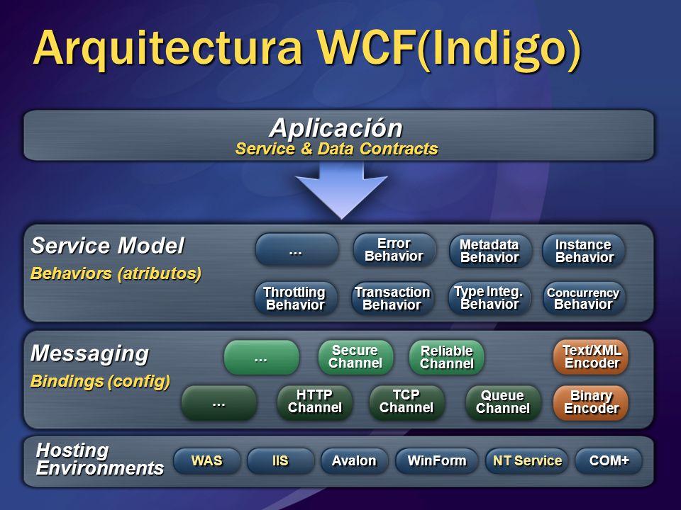Aplicación Service Model Messaging HostingEnvironments IISIISAvalonAvalonWinFormWinForm NT Service COM+COM+ TCPChannelTCPChannel HTTPChannelHTTPChanne