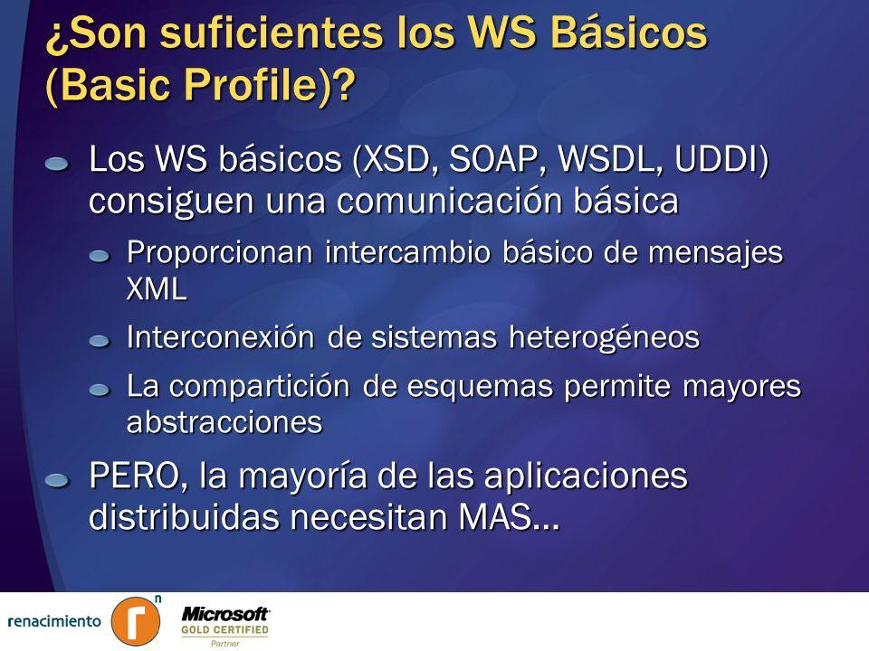 ¿Son suficientes los WS Básicos (Basic Profile)? Los WS básicos (XSD, SOAP, WSDL, UDDI) consiguen una comunicación básica Proporcionan intercambio bás
