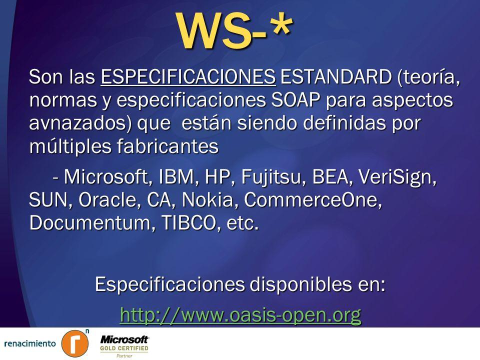 WS-* : Pila de Protocolos PlataformaBase Aplicaciones e Inraestructura de Aplicaciones Transportes Aplicaciones Conectadas Gestión Procesos de Negocio … SeguridadConfiabilidadTransacciones Mensajería XML Metadatos HTTPTCPSMTP … WS-Security WS-Trust WS-SecureConversation