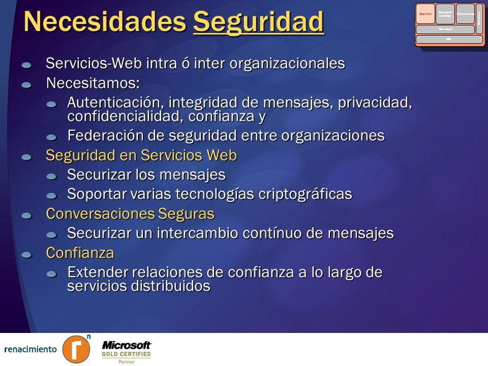 Necesidades Seguridad Servicios-Web intra ó inter organizacionales Necesitamos: Autenticación, integridad de mensajes, privacidad, confidencialidad, c