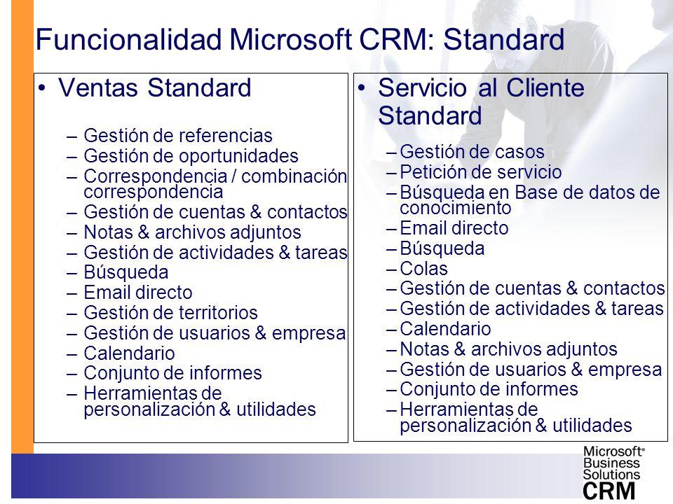 Funcionalidad Microsoft CRM: Standard Ventas Standard –Gestión de referencias –Gestión de oportunidades –Correspondencia / combinación correspondencia