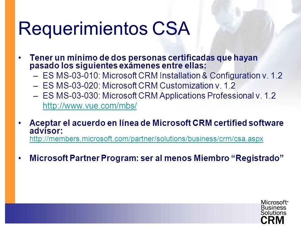 Requerimientos CSA Tener un mínimo de dos personas certificadas que hayan pasado los siguientes exámenes entre ellas: –ES MS-03-010: Microsoft CRM Ins