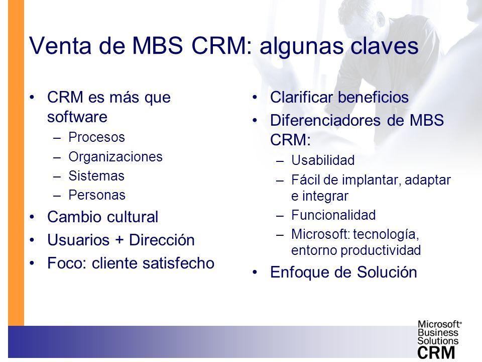 Venta de MBS CRM: algunas claves CRM es más que software –Procesos –Organizaciones –Sistemas –Personas Cambio cultural Usuarios + Dirección Foco: clie