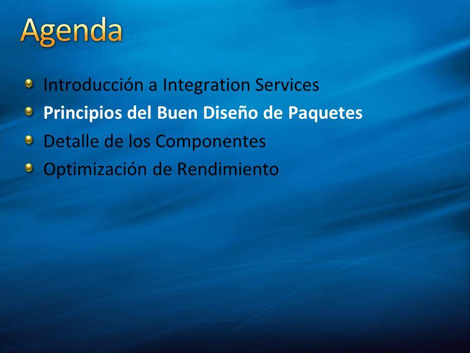 Introducción a Integration Services Principios del Buen Diseño de Paquetes Detalle de los Componentes Optimización de Rendimiento
