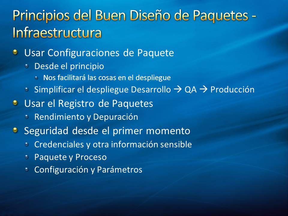 Usar Configuraciones de Paquete Desde el principio Nos facilitará las cosas en el despliegue Simplificar el despliegue Desarrollo QA Producción Usar e