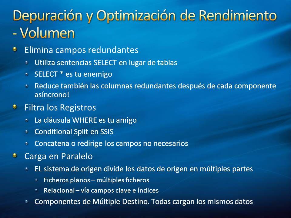 Elimina campos redundantes Utiliza sentencias SELECT en lugar de tablas SELECT * es tu enemigo Reduce también las columnas redundantes después de cada