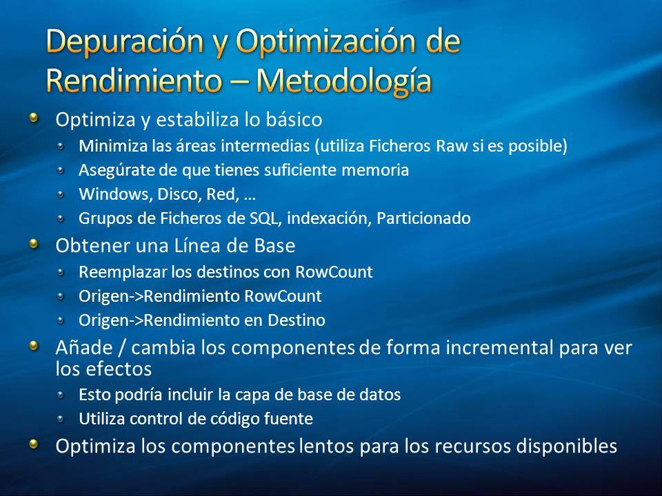 Optimiza y estabiliza lo básico Minimiza las áreas intermedias (utiliza Ficheros Raw si es posible) Asegúrate de que tienes suficiente memoria Windows