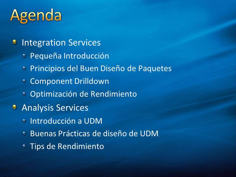 Integration Services Pequeña Introducción Principios del Buen Diseño de Paquetes Component Drilldown Optimización de Rendimiento Analysis Services Int