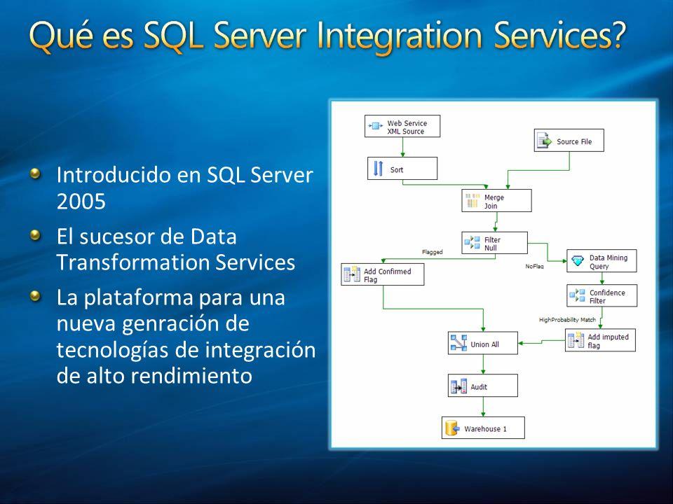 Introducido en SQL Server 2005 El sucesor de Data Transformation Services La plataforma para una nueva genración de tecnologías de integración de alto