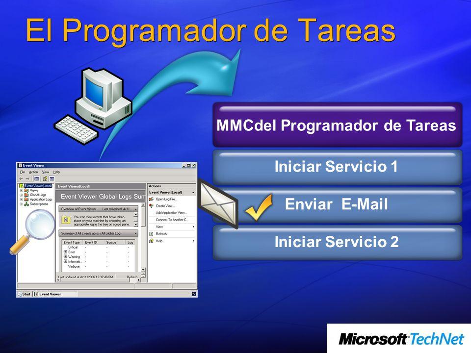 Enviar E-Mail El Programador de Tareas Iniciar Servicio 1 MMCdel Programador de Tareas Iniciar Servicio 2