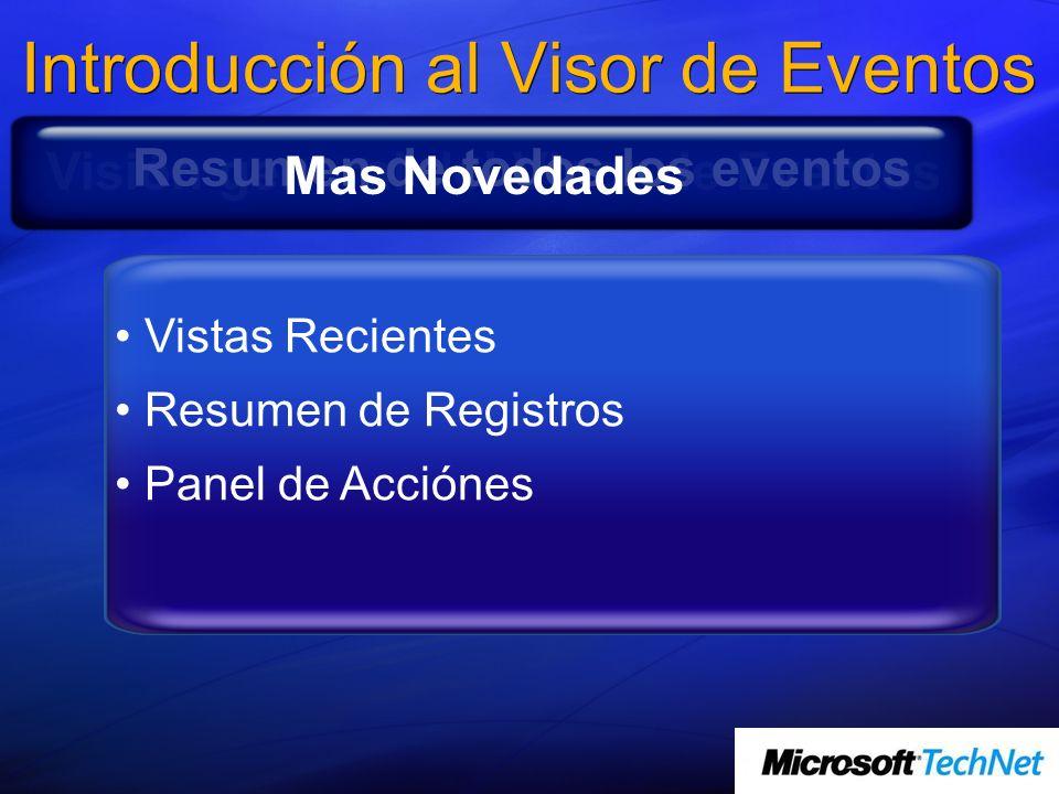 Introducción al Visor de Eventos Consulta a través de múltiples registros de Eventos Guardar consultas como vistas Programar tareas en respuesta a eve