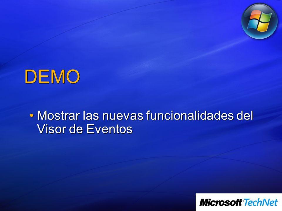 DEMO Mostrar las nuevas funcionalidades del Visor de EventosMostrar las nuevas funcionalidades del Visor de Eventos