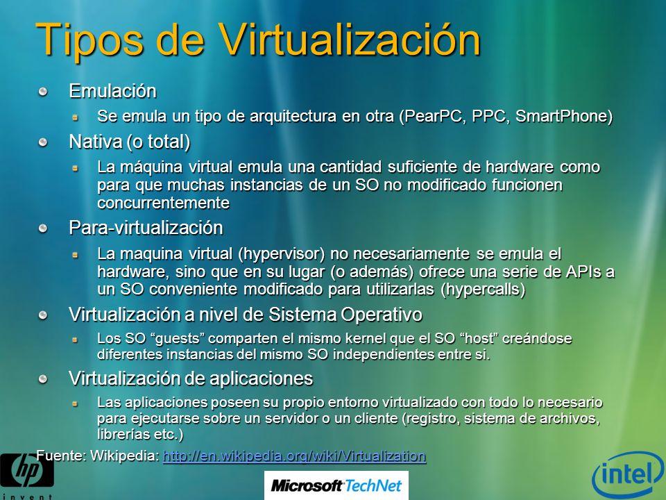 Tipos de Virtualización Emulación Se emula un tipo de arquitectura en otra (PearPC, PPC, SmartPhone) Nativa (o total) La máquina virtual emula una can