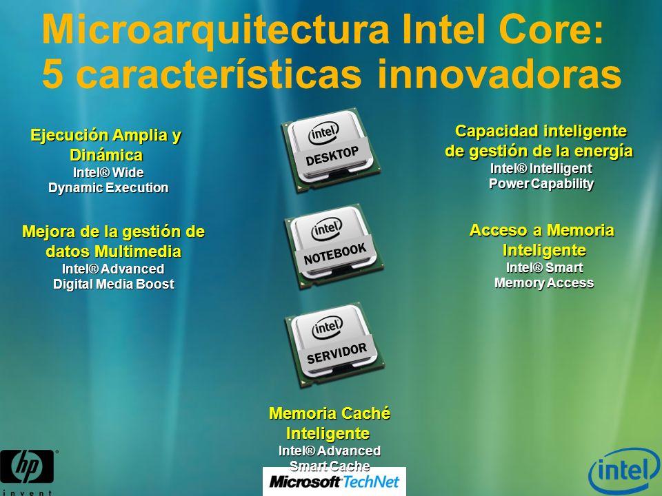 Ejecución Amplia y Dinámica Intel® Wide Dynamic Execution Mejora de la gestión de datos Multimedia Intel® Advanced Digital Media Boost Capacidad intel