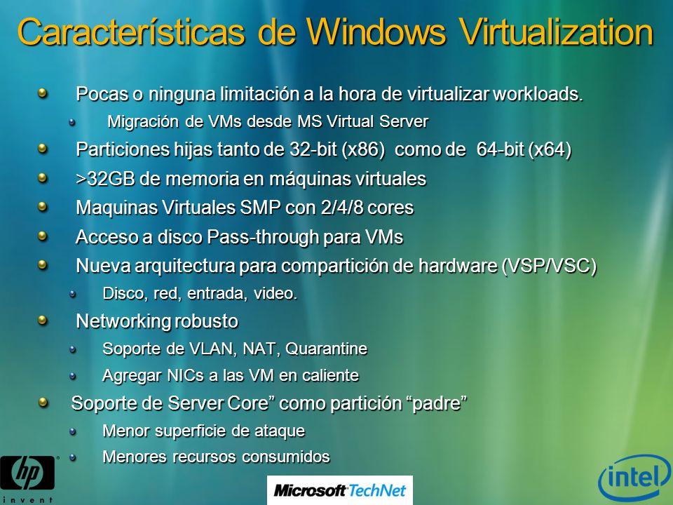 Características de Windows Virtualization Pocas o ninguna limitación a la hora de virtualizar workloads. Migración de VMs desde MS Virtual Server Part
