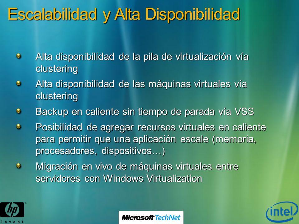 Escalabilidad y Alta Disponibilidad Alta disponibilidad de la pila de virtualización vía clustering Alta disponibilidad de las máquinas virtuales vía