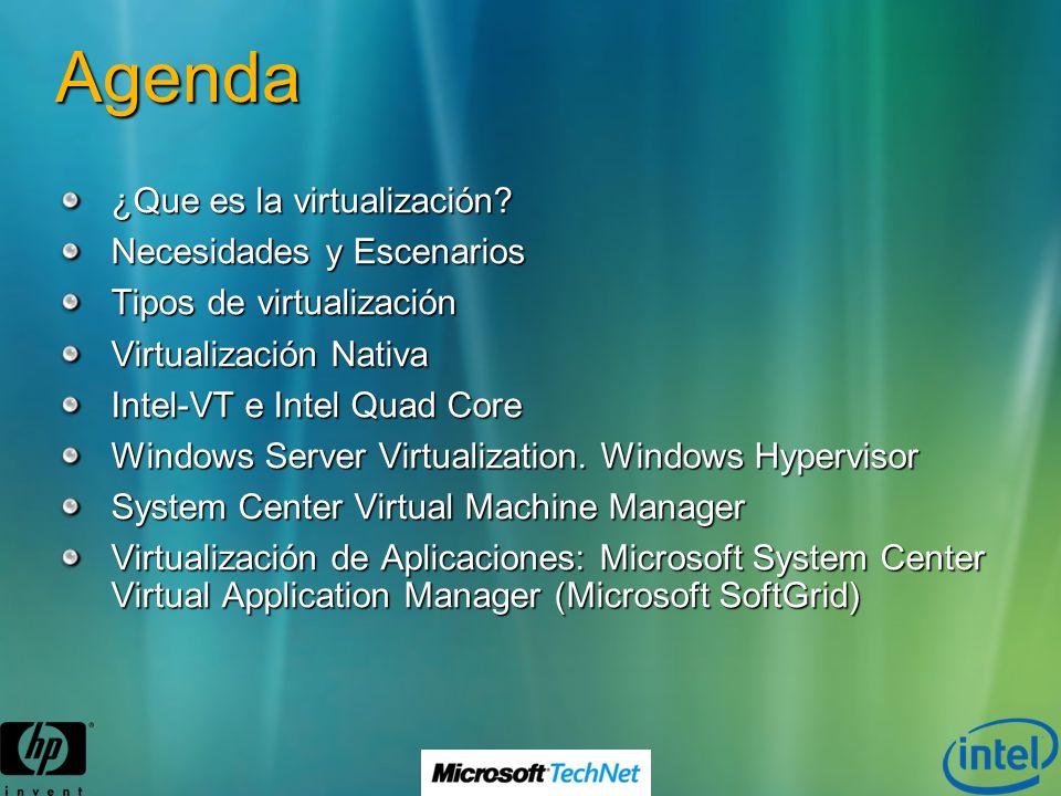 Agenda ¿Que es la virtualización? Necesidades y Escenarios Tipos de virtualización Virtualización Nativa Intel-VT e Intel Quad Core Windows Server Vir