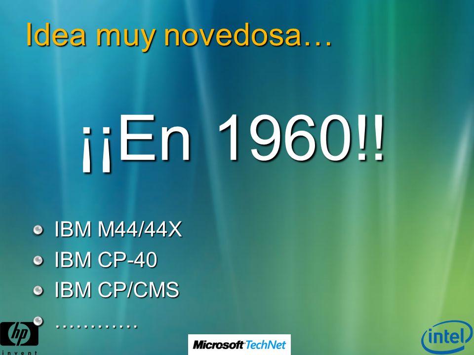 Idea muy novedosa… IBM M44/44X IBM CP-40 IBM CP/CMS ………… ¡¡En 1960!!