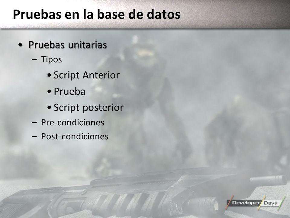 Pruebas en la base de datos Pruebas unitariasPruebas unitarias –Tipos Script Anterior Prueba Script posterior –Pre-condiciones –Post-condiciones